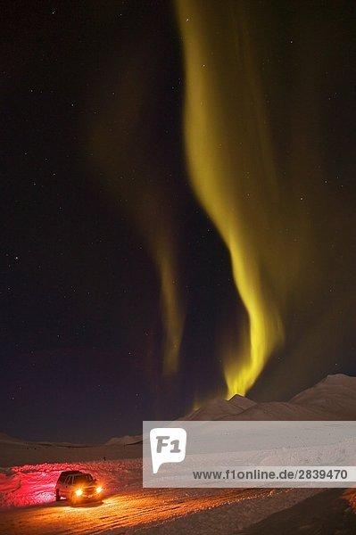 Fruhling  Nordlicht  Aurora Borealis  nahe Tombstone Berg Lookout  Dempster Highway  Yukon  Kanada.