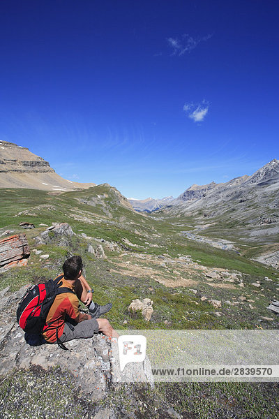 Hiker enjoys the view out over the Banff backcountry in Banff National Park looking towards the Siffleur Wilderness in the Canadian Rockies  Alberta  Canada.