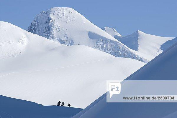 Gruppe der Skifahrer bereit zum Skifahren mit Asulkan Pass und Mt. Fox im Hintergrund  Glacier-Nationalpark  British Columbia  Kanada.