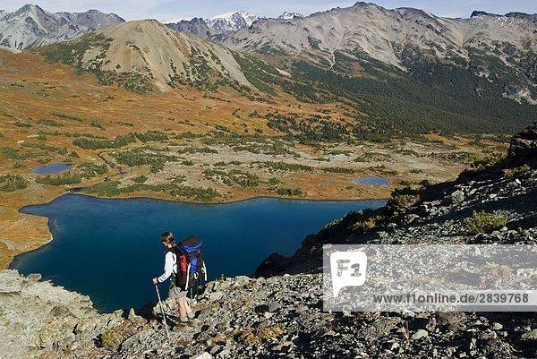 Frau Wanderer auf alpine Ridge über alpinen See der Region Jamieson Creek  Marcel Range  Chilcotin Coast Mountains  British Columbia  Kanada.