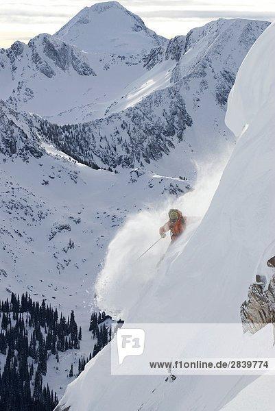 Professionelle Frau Skifahrer im Pulver auf alpine Steilhang mit Mt. McBride hinter  Valkyr Range  Selkirkgebirge  Kootenays  British Columbia  Kanada.