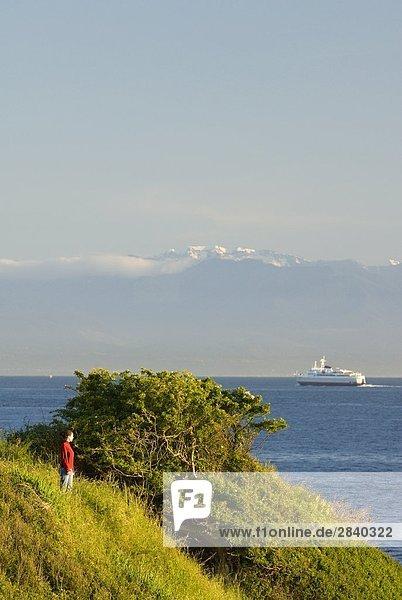entfernt Frau Fröhlichkeit Ufer Fernverkehrsstraße Fähre Ansicht vorwärts Silberlachs Oncorhynchus kisutch British Columbia Kanada Dallas Vancouver Island