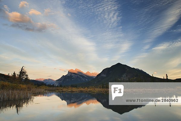 The Third Vermilion Lake with Mount Rundle at sunset in Banff National Park - Alberta  Canada.