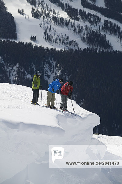 Eine Gruppe von Skifahrer Auschecken einer Klippe  Whistler Mountain  British Columbia  Kanada.