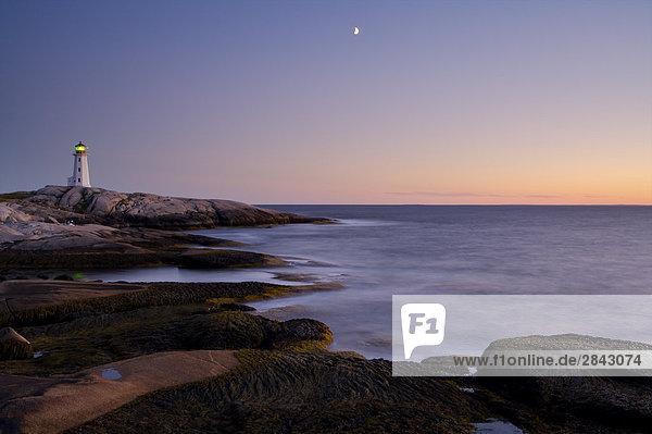 Sonnenuntergang Mond Gewölbe Peggys Cove Nova Scotia Kanada Nova Scotia Neuschottland