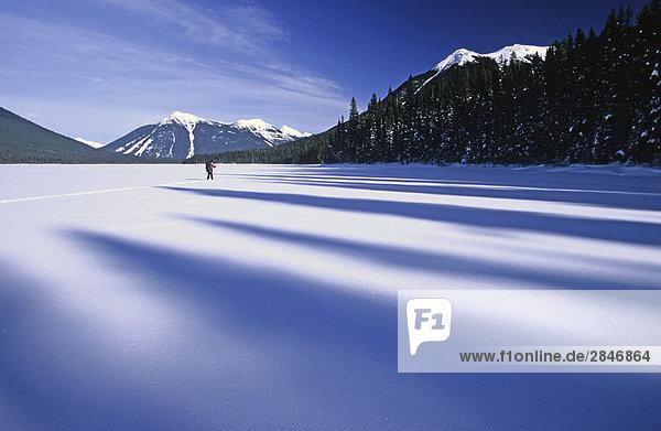 Skitour auf zugefrorenen Isaac See im Winter  Bowron Lakes Provincial Park  British Columbia  Kanada.