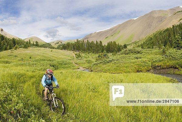 Mountainbiker Fahrten nach unten von Windy Pass  südlichen Chilcotin Bergen  British Columbia  Kanada.