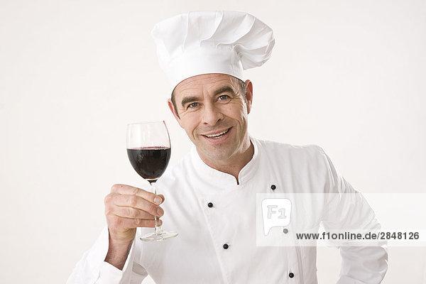 Glas halten Rotwein Köchin Glas,halten,Rotwein,Köchin
