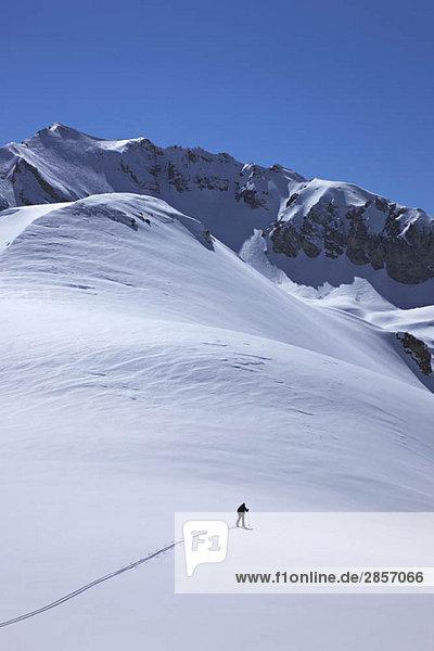 Skifahrer in der Berglandschaft