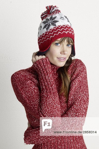 Young woman in a winter pullover