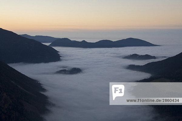 Germany  Bavaria  Sudelfeld  Mountain scenery with sunset