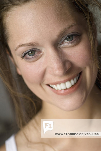 Young woman smiling  portrait  close up