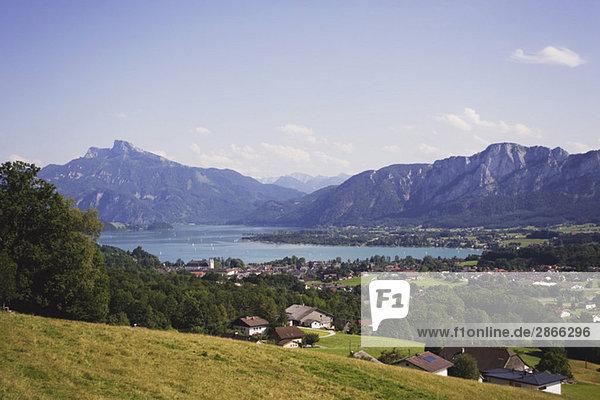 Austria  Salzkammergut  Mondsee village and lake