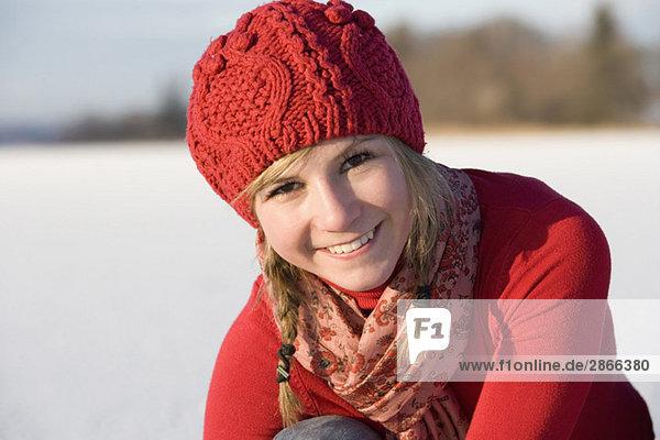 Austria  Salzkammergut  Lake Irrsee  Female teenagers (14-15)  smiling  portrait