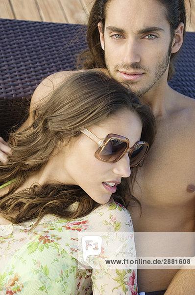 Close-up of a couple romancing