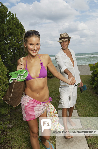 Couple at a tourist resort