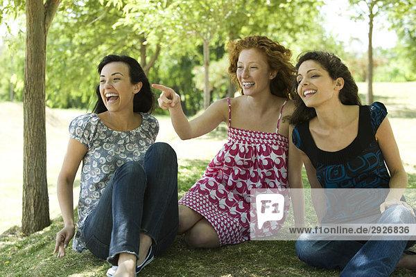 Drei junge Frauen sitzen im Park  lachend  eine zeigend