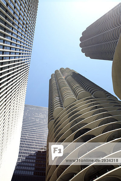 Low angle view of skyscrapers in Chicago  USA