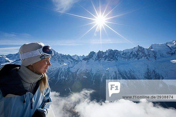 Frau Mont Blanc Frankreich bewundern.
