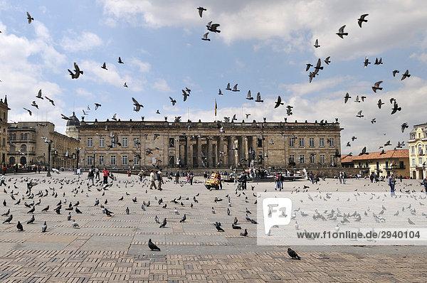 National Capitol  Capitolio Nacional and pigeons  BolÌvar Square  Plaza de BolÌvar  Bogot·  Colombia  South America