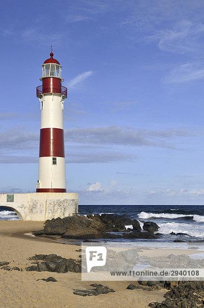 Lighthouse  Farol de Itapua  rocky beach  Salvador  Bahia  Brazil  South America