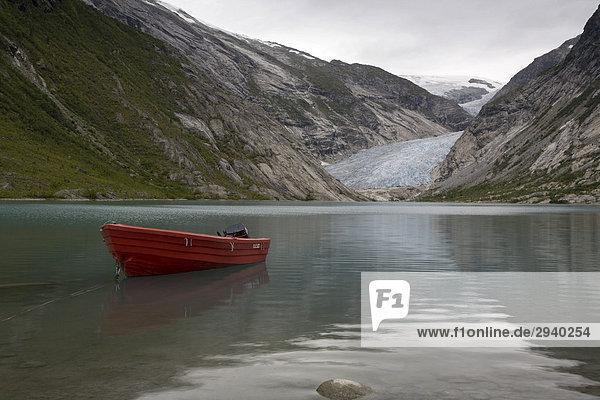 The Glacier tongue Nigardsbreen with Lake Nigardsbreenvatnet,  Jostedalsbreen,  Sogn og Fjordane,  Norway