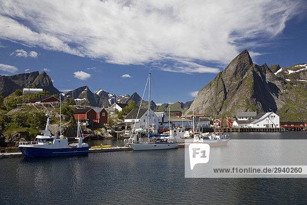 Der kleine Fischerort Hamn¯y  Reine  Moskenes  Lofoten  Nordland  Norwegen