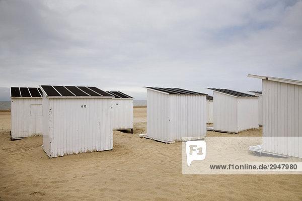 Baden Kabinen an der Nordseeküste  Belgien