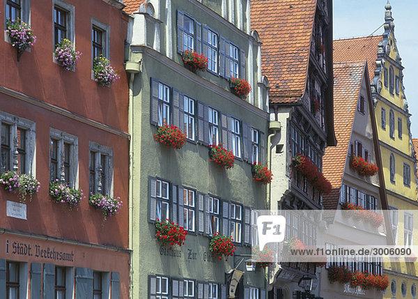 Fades of old houses  Dinkelsbuehl  Bavaria  Germany