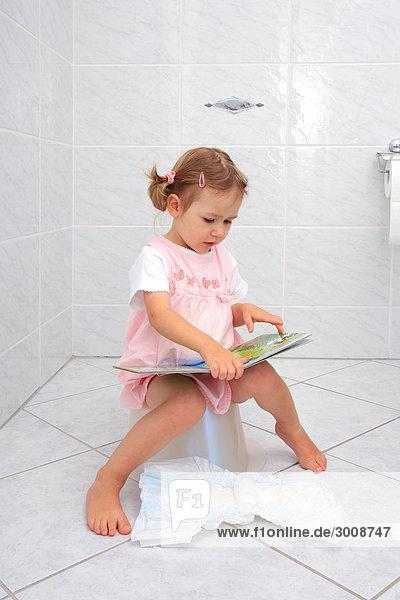 Buch, Kleinkind, Mädchen, Reading, Töpfchen,Little
