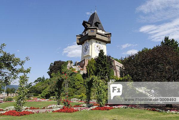 Clock tower on the Schlossberg castle hill Graz capital of Styria Austria