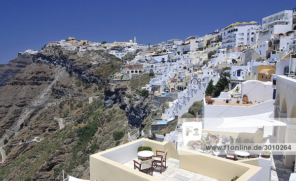 View over the town of Thira  Fira  on a crater's edge with typical Cycladic architecture  Santorini  Cyclades  Greece  Europe
