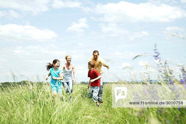 Familie spielt auf einer Wiese  Flachwinkelansicht