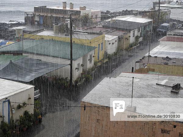 Heavy rainfall  La Bombilla  La Palma  Canary Islands  Spain