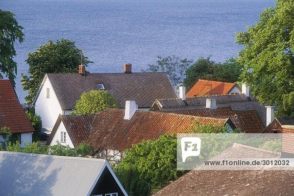 Houses near sea  elevated view  Skane  Sweden.