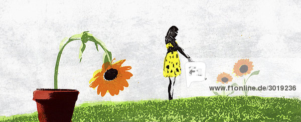Frau im Garten ignoriert vertrocknende Pflanze