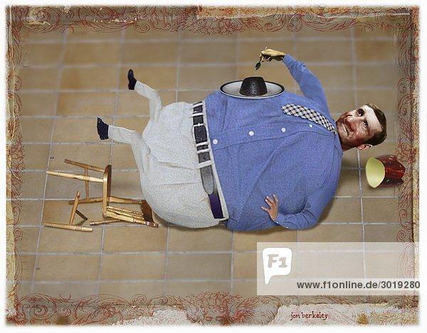 Dicker Mann fällt vom Stuhl