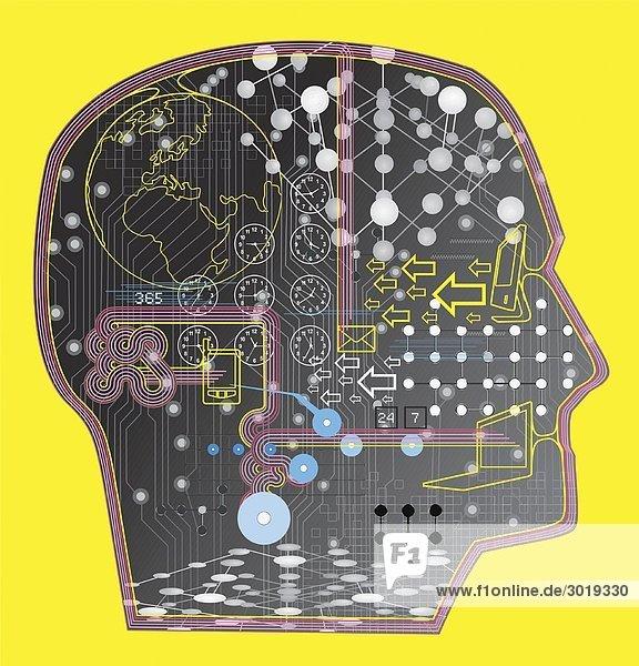 Gehirn gefüllt mit Technologie