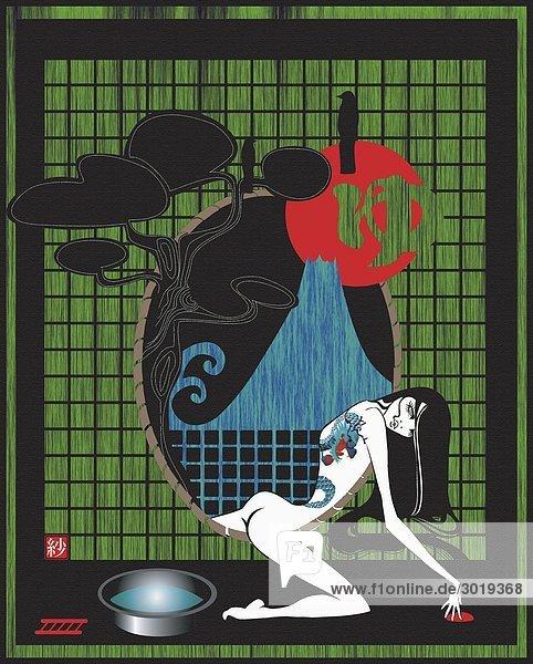 Nackte Geisha Mit Tattoos Stock Fotografie Bildagentur F1online