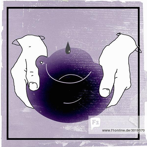 Hände halten Kaffeetasse  in die ein Tropfen fällt