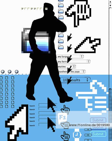 Abstrakter Mann mit Internetsymbolen