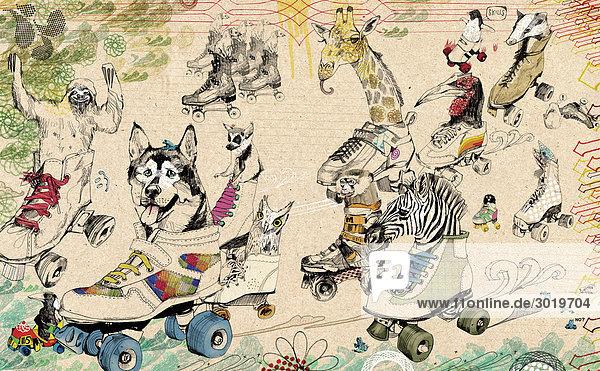 Tiere in Rollschuhen