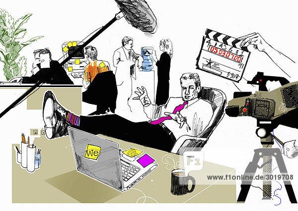Geschäftsmann dreht Film im Büro