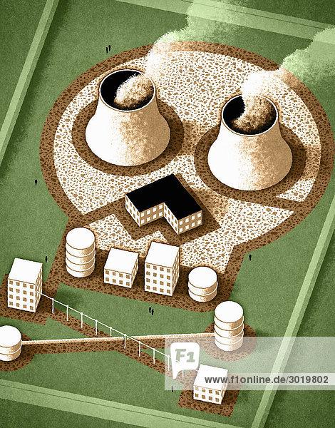Atomfabrik in Form eines Totenkopfs