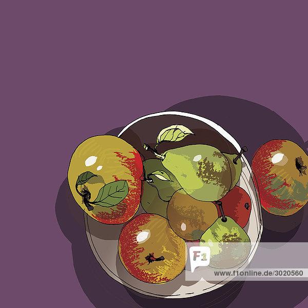 Schale mit Äpfeln und Birnen
