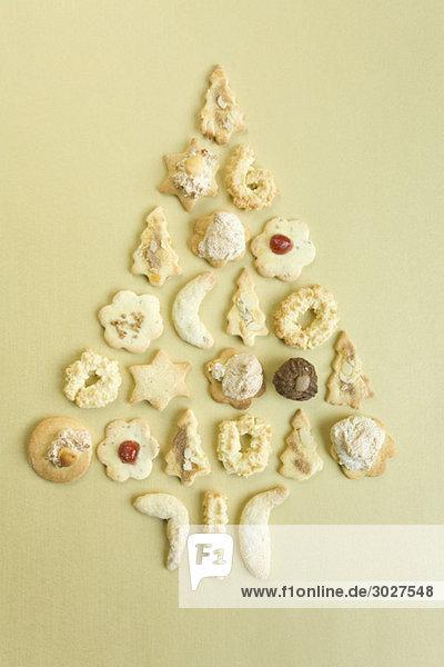 Kekse  Weihnachtsbaumform  erhöhte Ansicht Kekse, Weihnachtsbaumform, erhöhte Ansicht