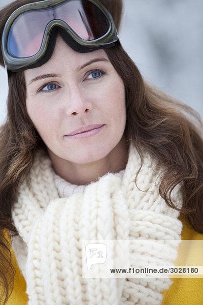 Woman with ski goggles  portrait
