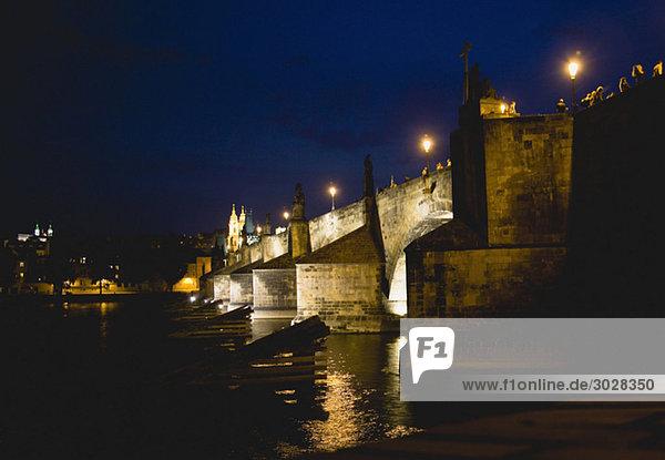 Czech Republic  Prague  Vitava river at night