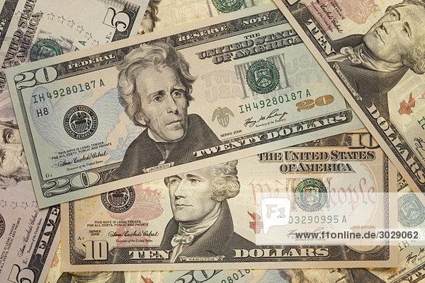 US-Dollar-Noten  erhöhte Ansicht  Vollbild