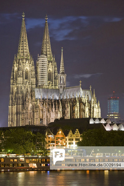 Germany  Cologne  Cathedral illuminated at night